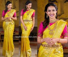niharika konidela yellow pattu saree with pink blouse scaled Bridal Sarees South Indian, Indian Bridal Outfits, Indian Bridal Fashion, Indian Bridal Wear, Indian Designer Outfits, Pattu Sarees Wedding, Wedding Saree Blouse Designs, Pattu Saree Blouse Designs, Blouse Designs Silk