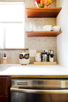 Monique's Clean, Minimal Kitchen Kitchen Spotlight // cute little wooden shelves