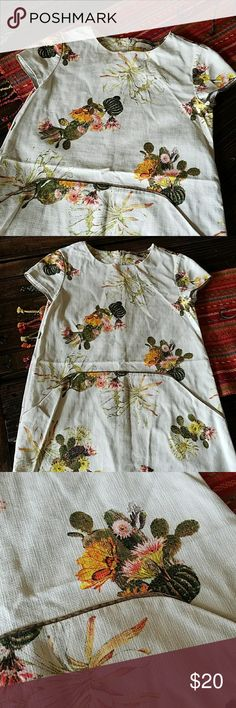 NWOT Zara Girls Soft Collection Dress I wish this dress came in my size! Wonderfully textured and beautifully detailed; if pockets don't seal the deal then the floral cactus pattern will! Pull on styling, zip back. NEW without tags by Zara, size 13/14. Zara Dresses Casual