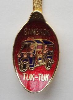 Collector Souvenir Spoon Thailand Bangkok Tuk-Tuk Coat of Arms Cloisonne Bowl