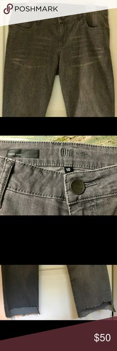 KUT Dianna Skinny jagged hem jeans KUT Dianna Skinny Jagged Hem jeans. Size 10. Only worn once extremely comfortable with great stretch. Bought on a whim and collecting dust! Need to be loved! Just like new. Worn 2 hours Kut from the Kloth Jeans Ankle & Cropped