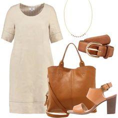 Una proposta in stile minimal, perfetta per l'ufficio e serate casual. Il vestito al ginocchio, in lino al 100%, color beige ha una linea pulita e semplice, con lo scollo arrotondato e le maniche corte. Gli accessori e le scarpe puntano alla qualità dei materiali. Infatti, sia la shopping bag, che i sandali, con tacco quadrato e fibbia, che la cintura sono di pelle, in color cognac. La collana, in modello a girocollo è semplice ed in oro.