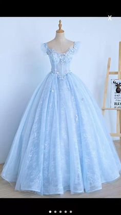 Light Blue Lace Cap Sleeve Long Sweet 16 Prom Dress, Evening Dress, Shop plus-sized prom dresses for curvy figures and plus-size party dresses. Ball gowns for prom in plus sizes and short plus-sized prom dresses for Quince Dresses, Ball Dresses, Ball Gowns, Dresses Uk, Chiffon Dresses, Elegant Dresses, Pretty Dresses, Formal Dresses, Wedding Dresses