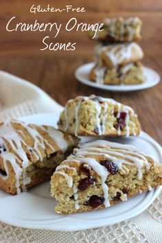 Cranberry Orange Scones are the perfect treat. Citrus, cranberry and a sweet glaze will make you want to serve these over and over. A classic combination! #glutenfree #vegan