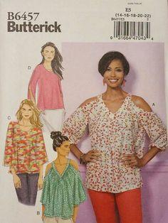 Butterick Pattern B6457 sizes 14-22 V-Neck or Scoopneck, Cold-Shoulder Tops