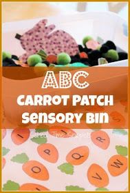 The Carrot Seed - School Time Snippets: ABC Carrot Patch Sensory Bin {Free Printable} Trains Preschool, Preschool Centers, Kindergarten Activities, Sensory Activities, Learning Centers, Literacy Centers, Sensory Tubs, Sensory Boxes, Sensory Play