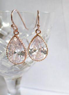 Rose Gold Crystal Clear Rhinestone Teardrop by AngelPearls on Etsy