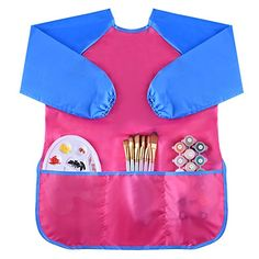 Kuuqa Waterproof Art Smock, Kids Art Aprons Children's Art Smock Long Sleeve with 3 Roomy Pockets , Painting Supplies (Paints and Brushes not included) *** To view further, visit