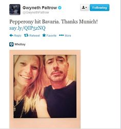 They call themselves Pepperony? That's.... That's just too good #Stark #Paltrow #RDJ