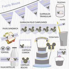 Imprimible Mouse lila  #Fiesta #cumpleaños #printables #niños #etiquetas #plantillas #niños Valance Curtains, Mickey Mouse, Home Decor, Happy Birthday, Printables, Events, Party, Stencils, Tags