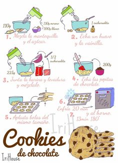 { IriHouse }: { Dibu-Recetas } Chocolate Cookies, Chocolate Recipes, Pastry Recipes, Cooking Recipes, Mexican Food Recipes, Sweet Recipes, Baking Store, Scrapbook Recipe Book, Food Journal