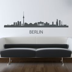 Berlin Skyline Wall Sticker. Germany's capital city Berlin definitely has one of the most awe inspiring skylines with attractions like the Brandenburg Gate, Berlin wall and Fernsehturm Berlin running the show and your walls could be a witness to this legacy with these amazing Berlin skyline wall decorations. http://walliv.com/berlin-skyline-wall-sticker-wall-art-decal