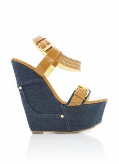 is back in again! Platform Wedges Shoes, Shoes Heels Wedges, Platform High Heels, Wedge Heels, Blue Jean Heels, Cute Shoes, Me Too Shoes, Heeled Boots, Shoe Boots