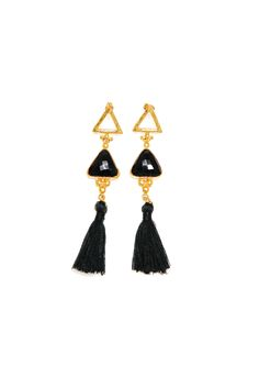 Tassel Onyx Triangle Earrings