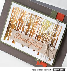 "Joyful Thanksgiving by Shari Carroll 2 VIDEO & DISTRESS INKS, SPRITZED WITH ""WINTER TREES"" STAMP"