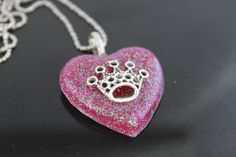 Princess Diaries Raspberry Glitter Resin Heart by tranquilityy, $7.25