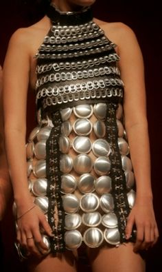 trashion - dress is made from recycled aluminium soda cans