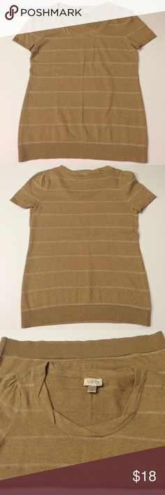 Ann Taylor tan sweater Ann Taylor tan sweater• short sleeved• tan with gold stripes• made with cotton Ann Taylor Tops