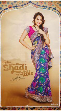 1000+ images about Sonakshi Sinha Sarees on Pinterest ... Sonakshi Sinha In Blue Saree