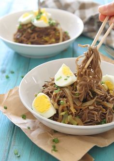 Sweet onion leek soba noodles with hard boiled eggs. A vegetarian meal packed with flavor!