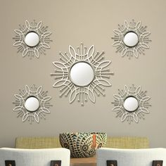 5 Piece Burst Wall Mirror Set