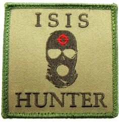 """[Single Count] Custom, Cool & Awesome {3"""" Inches} Square Patriotic US Badass Military ISIS Hunter Text Badge (Tactical Type) Velcro Patch """"Green, Black & Red"""""""