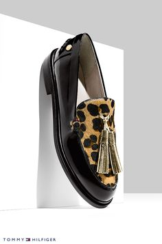 Metallic, leopard and black patent leather come together in a strikingly modern way.