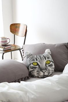 The Rise And Fall Cat Face Pillow - Urban Outfitters