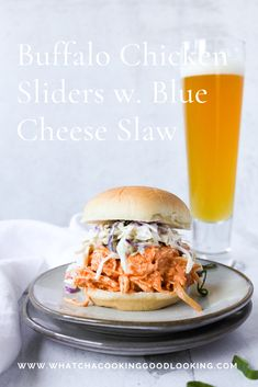 football food Buffalo Chicken Sliders with Blue Cheese Slaw are the only thing you need to serve at your next super bowl party. The buffalo chicken is made in the crock pot for ease and Buffalo Recipe, Buffalo Food, Buffalo Chicken Sliders, Chicken Wrap Recipes, Sandwiches, Tailgating Recipes, Sandwich Recipes, Chicken Breakfast, Dinner Dishes