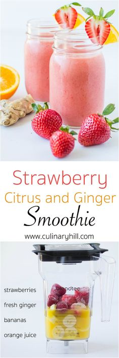 Quench your thirst with this refreshing Strawberry Citrus and Ginger Smoothie, a fast and fruity treat perfect for crushing your sweet cravings. I would use real oranges and some water instead of processed orange juice. Paleo Smoothie Recipes, Vegan Smoothies, Easy Smoothies, Juice Smoothie, Smoothie Drinks, Breakfast Smoothies, Healthy Recipes, Vitamix Juice, Yogurt Recipes