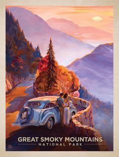 Great Smoky Mountains National Park: Smoky Sunset - Anderson Design Group has created an award-winning series of classic travel posters that celebrates the history and charm of America's greatest cities and national parks. Founder Joel Anderson directs a Poster Retro, Poster Art, Vintage Travel Posters, Gig Poster, Great Smoky Mountains, American National Parks, Photo Vintage, Vintage Room, Vintage Style