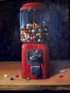 Still Life Painting Featuring a Vintage Gumball Machine -       Craig Shillam