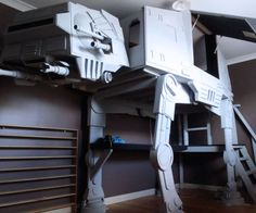 Whether storming the battle of Hoth or getting a good night's sleep, you're likely to find yourself in the Stars Wars AT-AT bunk bed. This bunk bed's original and awesome AT-AT frame makes this bed a no-brainer for any childrens or Star Wars aficionado's room.