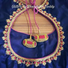 Tie back drops South Indian Blouse Designs, Silk Saree Blouse Designs, Blouse Neck Designs, Sleeve Designs, Bridal Blouse Designs, Hand Work Blouse Design, Simple Blouse Designs, Zardosi Work Blouse, Maggam Work Designs