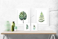 Kunstdruck mit Collage Lotus, Wohndeko / fine art print leaves, urban jungle, wall decoration made by Janine Sommer via DaWanda.com