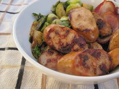 Paleo Go-To Meal: Brussels sprouts, chicken sausage, bacon (optional), garlic & other seasonings | paleOMG