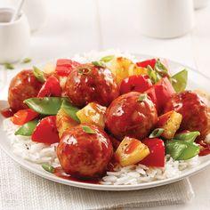 Boulettes de dinde à l'ananas - Les recettes de Caty Poutine, Potato Salad, Chicken Recipes, Menu, Chinese, Cooking, Ethnic Recipes, Food, Copyright