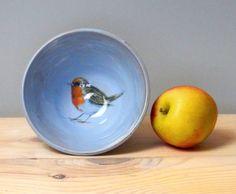 Handmade Bird bowl  small bowl  trinket dish  robin bowl