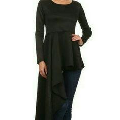 Jenny in black High low peplum top Tops Blouses
