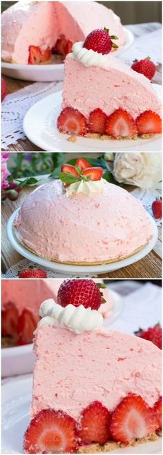 No Bake Strawberry Cheesecake Pie - a layer of fresh strawberries topped with a fluffy strawberry cream cheese mousse. This recipe is one of the best strawberry dessert ever! (Eggless Butter Tarts)