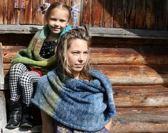 Denim Sky blanket throw, warm knit hands free infinity scarf for mother daughter denim days Wrapture by Inese TAFA Market http://www.tafaforum.com/market/featured-collection/