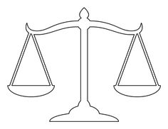 Scales of justice pattern. Use the printable outline for crafts, creating stencils, scrapbooking, and more. Free PDF template to download and print at http://patternuniverse.com/download/scales-of-justice-pattern/