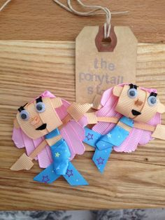 1 Pair Bubble Guppies Molly Pink Star Girl Cute Hair Bow Clips Ponytail