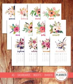 A5 2018 Monthly Planner Calendar Dashboard Divider Agenda Inserts Floral Watercolor Printable Instant Digital Download
