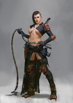 f Rogue Assassin Slaver Med Armor Whip Sword wilderness arena underdark Alternate Reality Gas Mask The Art Showcase Warrior Girl, Fantasy Warrior, Fantasy Rpg, Fantasy Artwork, Dark Fantasy, Warrior Princess, Warrior Women, Female Character Design, Character Concept