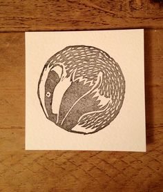 Badger Lino Print card for any occasion, from Martell Mundo on #Folksy