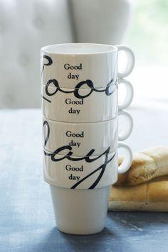 Good Day Stackable Mugs 4PCS Riviera Maison  Funny!