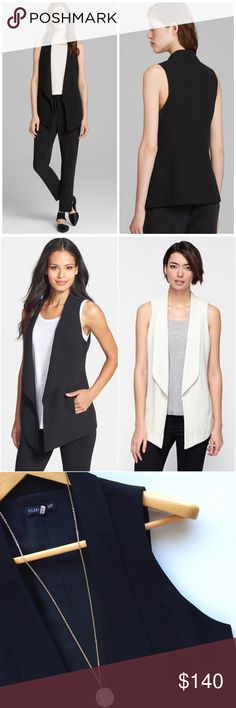 """🆕EILEEN FISHER silk shawl collar black vest Silk shawl collar vest by Eileen Fisher. Immaculate condition and just dry cleaned. Approx measurements laying flat 18"""" across 30"""" long from shoulder to longest point. 💯 % Silk. Size xs. Eileen Fisher Jackets & Coats Vests"""