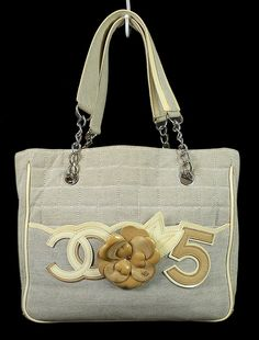 cf7cd8a9fd30 Chanel Gray Fabric Iconic Cc Camellia No5 Shopping Tote Bag on MALLERIES