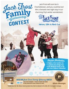 We're running a fun Jack Frost Family Getaway Contest on our Facebook page and in our twitter feed. To enter on Facebook click here: https://www.facebook.com/discovercharlottetown